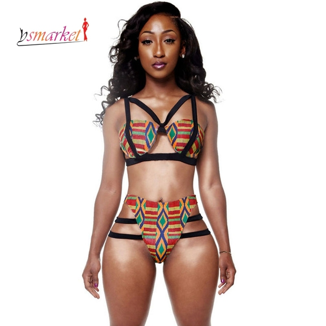 69911e0ac4d14 African Print Swimsuit Women 2018 African Print Inspired Bikini Set women  strappy Bathing Suit ethic print African Swimwear XL