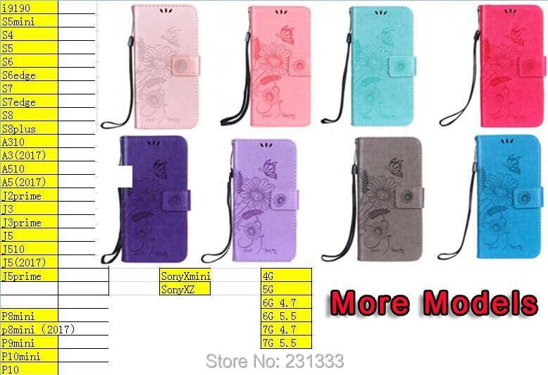 For Samsung Galaxy NOTE8 NOTE 8 Flower Strap Wallet PU Leather Pouch Case Ant Butterfly TPU ID Card Stand Money Cover Skin 50PCS