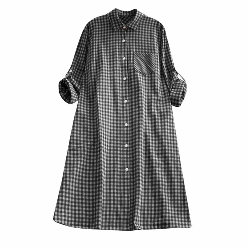 Free ostrich Casual mujer de talla grande de otoño túnica a cuadros botón abajo Vestido de manga larga Stand bolsillo camisa vestido
