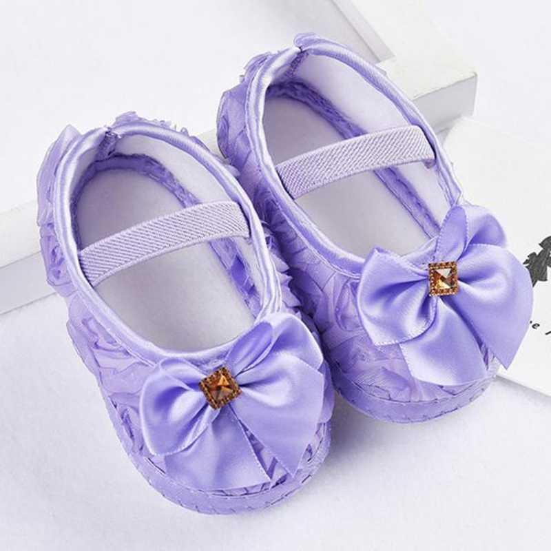 2019 תינוקת נעליים לפעוטות ילד תינוקת רוז Bowknot גומייה יילוד הליכה נעליים רך Sole סניקרס הראשון ווקר @ 35