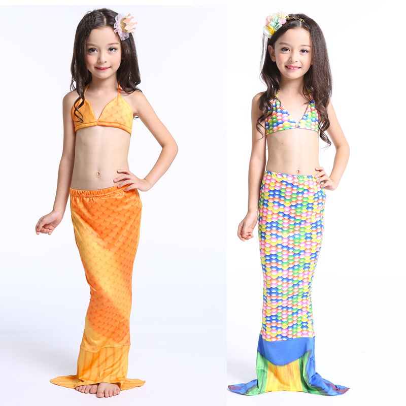 3pcs/set New Kids Mermaid Tails for Swimming Open Mermaid tail without Monofin Girls Costumes Swimmable Swimsuit with Bikini