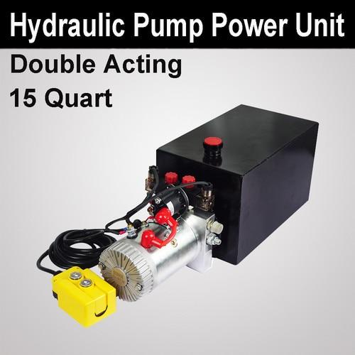 15 Quart Double Acting Hydraulic Pump Dump Trailer Power Unit Controller 12VDC 2.2KW 15L15 Quart Double Acting Hydraulic Pump Dump Trailer Power Unit Controller 12VDC 2.2KW 15L