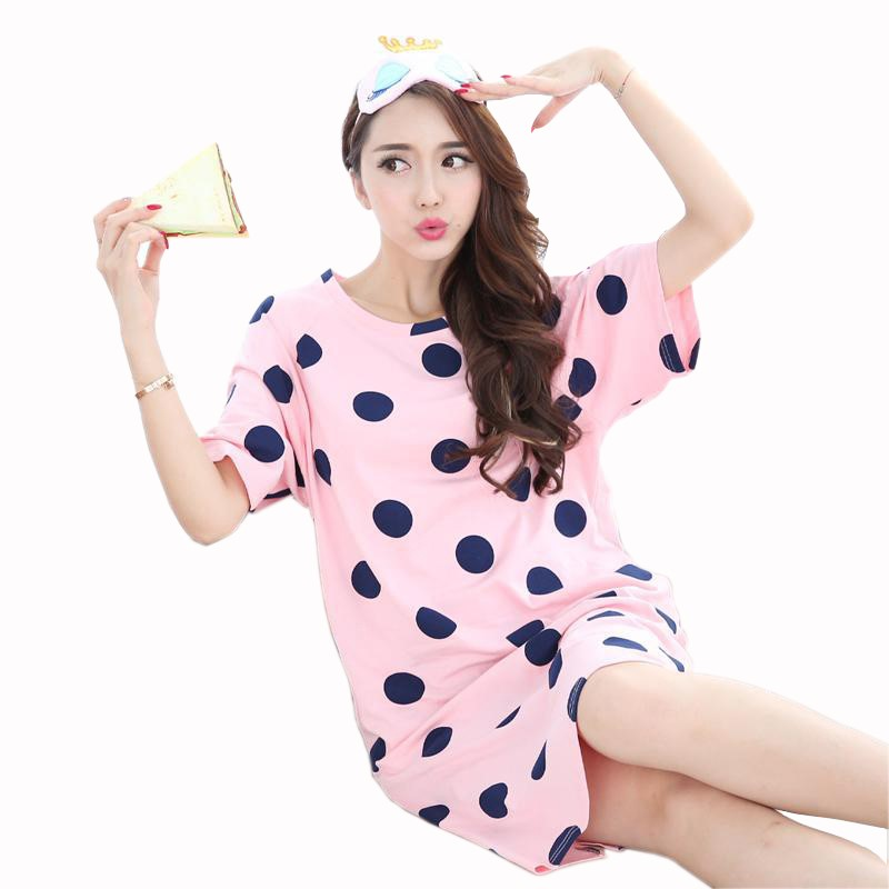 Summer Knitted Cotton Women's Sleep Lounge Dress Big Girls Cartoon Sleepwear Nightgowns Sleepshirts Night Shirts Home Clothing