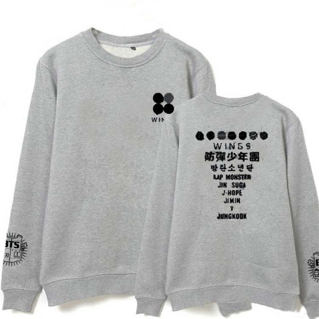 HPEIYPEI Kpop BTS Bangtan Boys WINGS SUGA Album Hoodie K-POP Cotton Hoodies Clothes Pullover Printed Long Sleeve Sweatshirts