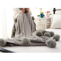 High Quality Knitted Thread Blanket With Pompons Ball Warm Sofa Bed Cover Slipcover Quilt Carpet Throw