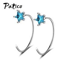 Blue Crystal Stars Earrings Female 925 Sterling Silver Wave Korean Temperament Personality Geometric Ear Hook Women