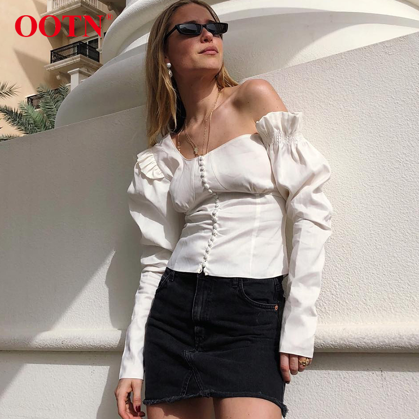 OOTN Women Asymmetrical Puff Long Sleeve Top Ruffle Tunic Blouses White Shirt Female One Shoulder 2019 Spring Summer Fashion New(China)