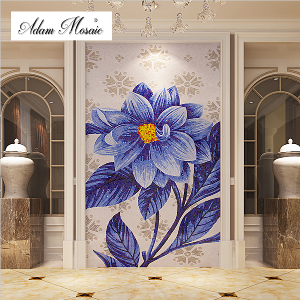 mosaic tiles for crafts sea blue big flower glass backsplash mosaic tile hotel hall gallery home - Mosaic Tile Home Interior