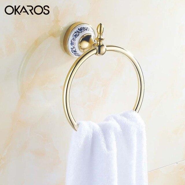 Okaros Bathroom Towel Ring Holder With Ceramic Decoration Rack Bar Stainless Steel Chrome Golden
