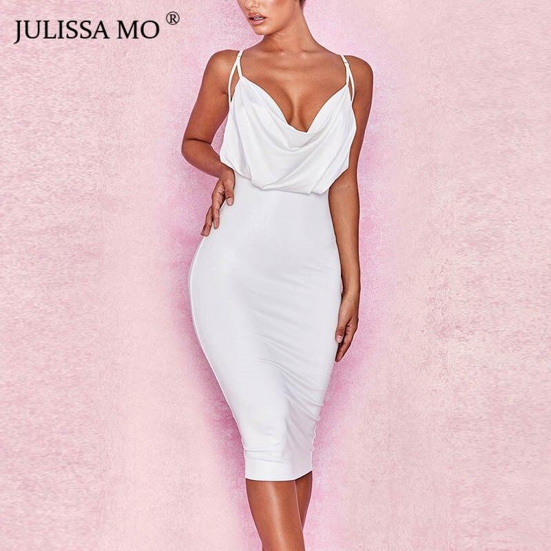 5686dc10f491 JULISSA MO Solid V Neck Sexy Bodycon Dress Women Spaghetti Strap Backless  Midi Dress Elegant 2018
