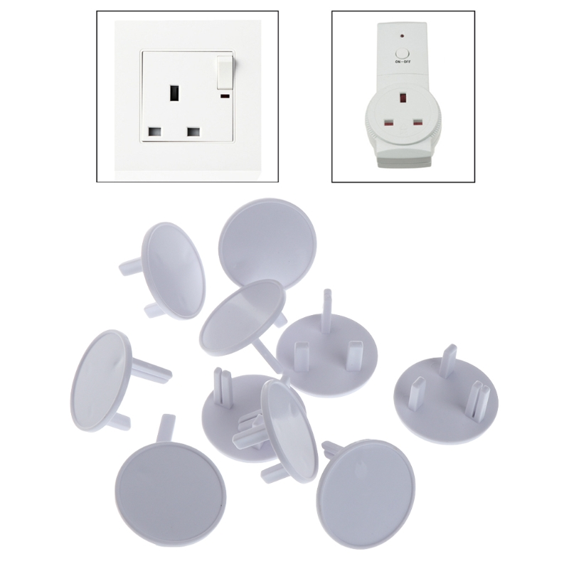 10Pcs UK Power Socket Protection Cover Socket Outlet Mains Plug Cover Baby Child Safety Protector Guard