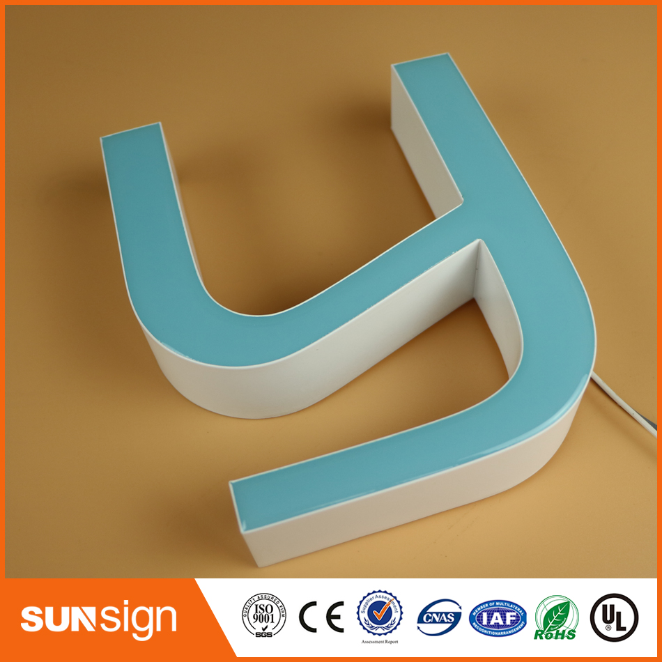 Storefront outside led frontlit resin letter signs