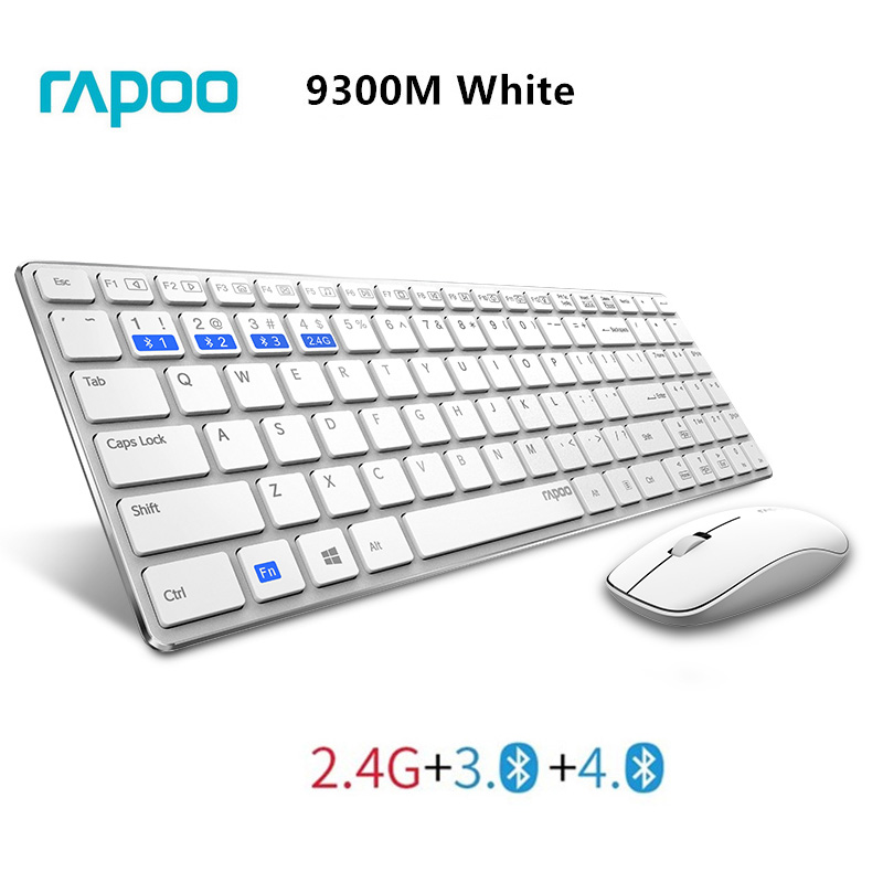 Rapoo Multimedia Ultra Thin Optical Wireless Keyboard and Mouse Combos with English Russian Buyer Free Sticker