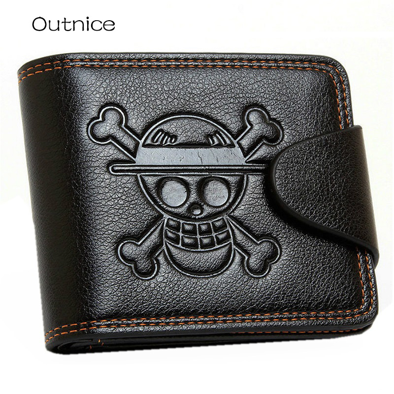 Fashion Brand Genuine Leather Men wallet Anime Skull Printed Short Male Standard Wallets Purse With 7 Card Bit Hot Sale