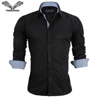 Men Shirt 2016 Spring Arrival New Fashion Long Sleeve Business Solid Dress High Quality Slim Fitness