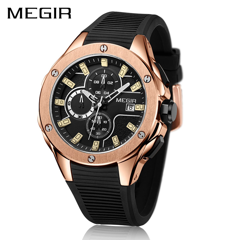 MEGIR Brand Quartz Men Watch Clock Relogio Masculino Luxury Chronograph Silicone Army Military Sport Watches Mens Saat Erkekler megir sport mens watches top brand luxury male leather waterproof chronograph quartz military wrist watch men clock saat 2017