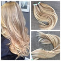 Hot Queen TAPE HAIR Virgin Hair 16inch-26inch Tape in on Skin Hair Extension Hair Extensions Blonde 20pcs 40pcs 7A Grade BY103