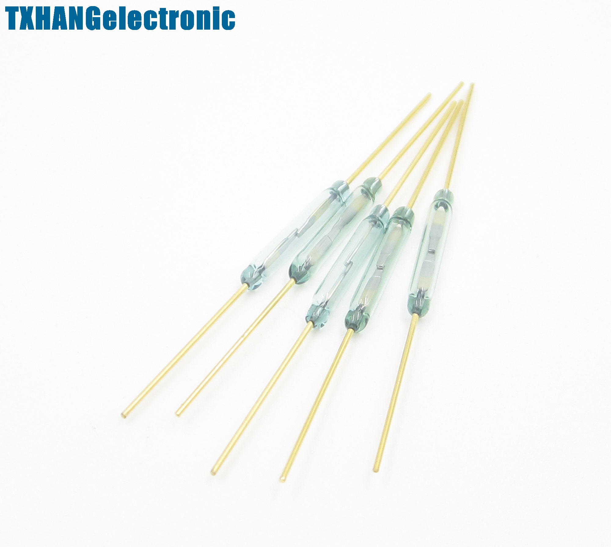 5Pcs 2 x 14mm  MKA-14103 Gold Tone Leads Glass N//O SPST Reed Switches 10-15AT US