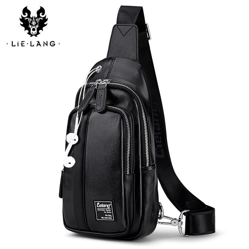 LIELANG Male Bags Chest-Bag Single-Shoulder-Strap Warterproof Men PU Backbag