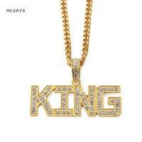 MCSAYS מכתב תכשיטי נירוסטה אייס מתוך Hiphop Mens שרשרת שרשרת קישור תליון בלינג של מלך מלך 3MJ אביזרי אופנה