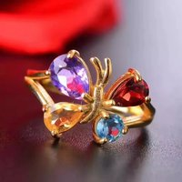 925 Sterling Silver Multicolored Gemstone Rings Fashion Gift For Women Jewelry Pinkycolor Butterfly Rings Fine Jewelry