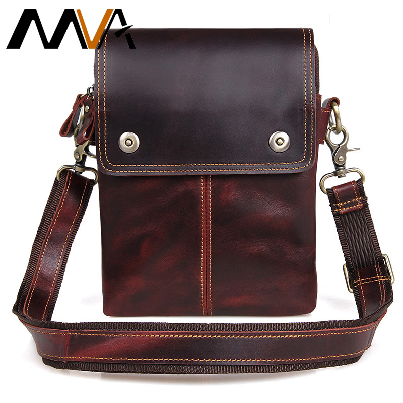ФОТО MVA Genuine Leather Bag Vintage New Style Men Bags Crossbody Bags Men's Shoulder Bag Messenger Small Flap Casual Handbags 1006