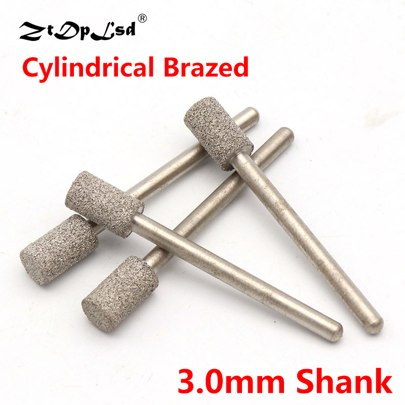 1Pcs 3mm Shank Cylindrical Brazed Diamond Grinding Head Burrs Carving Peeling Bits Tools For Jade Stone Glass Metal Ceramic Mill