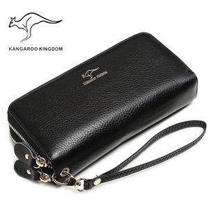 Image 2 - KANGAROO KINGDOM luxury genuine leather women wallets long double zipper lady clutch purse brand hand bag for