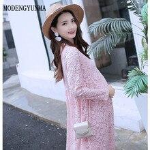 31908e884235d MODENGYUNMA Pregnant Women Solid Lace Short Dress Cute Luxury Pregnancy  Clothes Long Sleeve Maternity Dresses summer