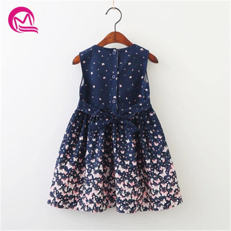 MQ 2018 для маленьких девочек Костюмы Повседневное платье для девочек Дети Костюмы рукавов Лук Мини Летнее платье с принтом для детей K82C294B