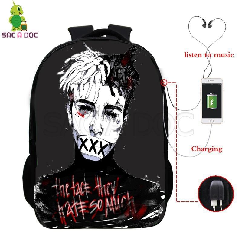 Famous Rapper Xxxtentacion School Bag Multifunction USB Charging Laptop Backpack For Teenage Boys Girls Travel Shoulder Bags