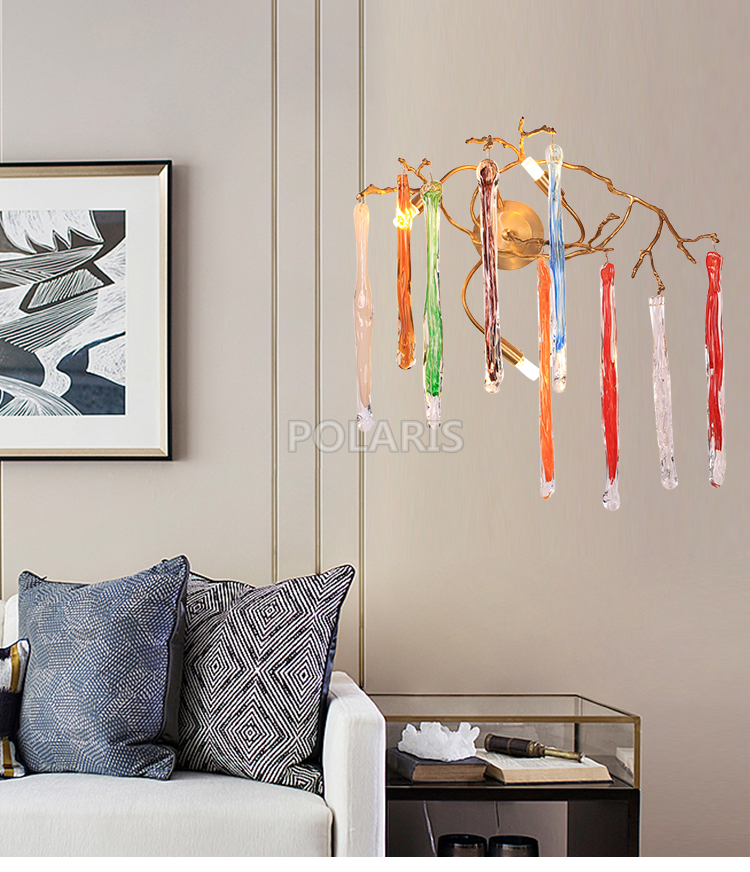 все цены на Vintage Colored Glass Drop Crystal Chandelier LED Wall Sconce Lamp Brass Wall Light Copper Wall Lighting for Living Dining Room