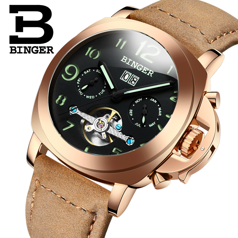 Genuine Switzerland BINGER Brand Men automatic mechanical luminous calendar waterproof sports Chronograph military gold watch genuine switzerland binger brand men automatic mechanical luminous calendar waterproof sports chronograph military gold watch