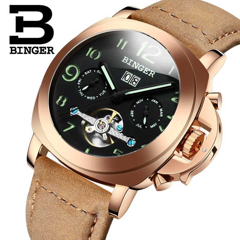 все цены на Genuine Switzerland BINGER Brand Men automatic mechanical luminous calendar waterproof sports Chronograph military gold watch