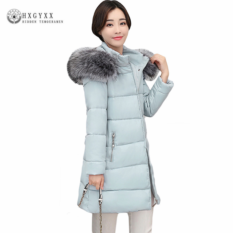 Slim Warm Down Cotton Quilted Coat Winter Jacket Woman 2017 Plus Size Fur Fashion Hooded Parka Zipper Outwear Snow Wear Oka596