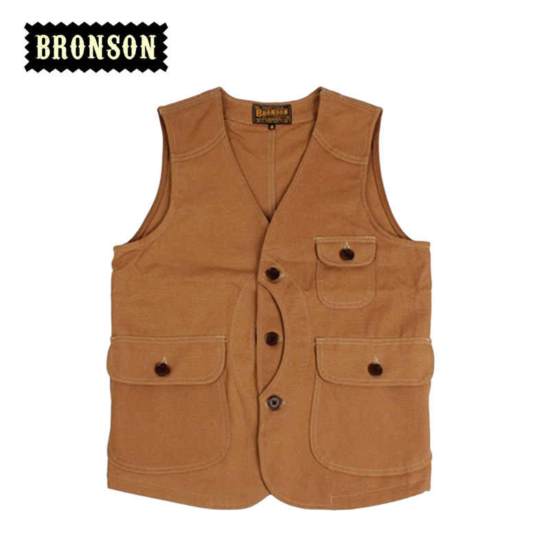 bronson original design thin male vest slim multi pocket  vintage vest