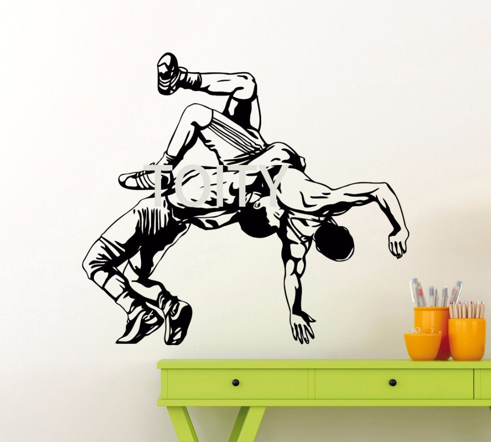 Sticker gym wall - Wrestling Throw Wall Decal Gym Vinyl Sticker Sport Home Art Decor Mural China Mainland