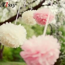 5pcs 6 אינץ '(15CM) רב צבעים נייר רקמות פום פומס עבודת יד נייר פרח כדור פומפום בית ילדים יום הולדת & חתונה קישוט רכב