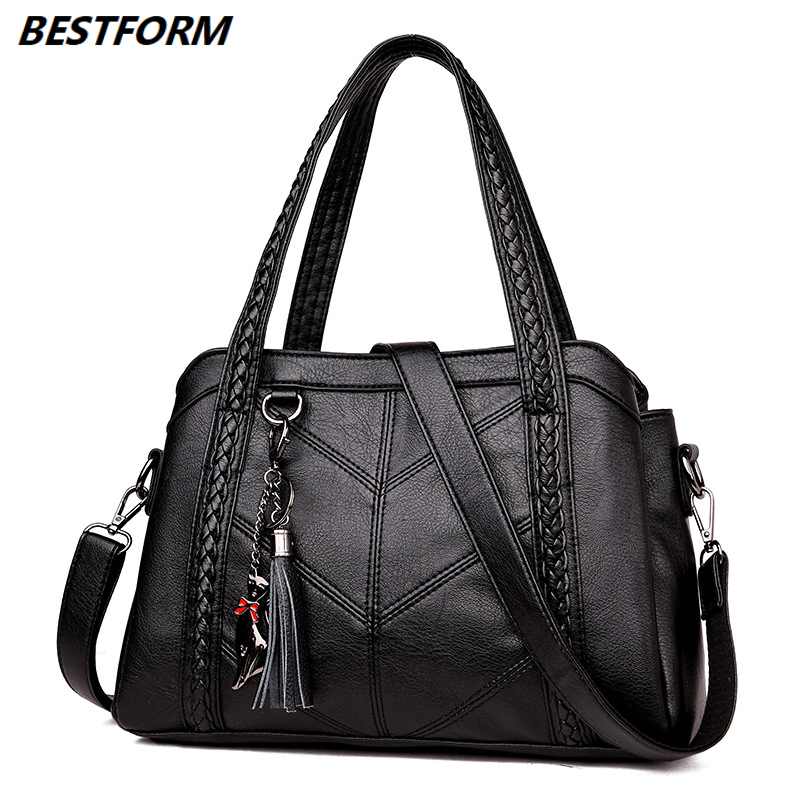 BESTFORM Top-Handle Bags Women Tassel Tote Luxury Spiraea Shoulder Messenger Designer High Quality Leather Handbag