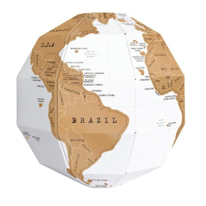 1PCS DIY Scratch Globe 3D Stereo Assembly Globe World Map Travel Kid Child Toy Gift School Office Supply