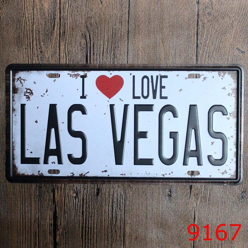 LOSICOE Vintage license plate I LOVE LAS VEGAS Metal signs home decor Office Restaurant Bar Metal Painting art 15x30 CM