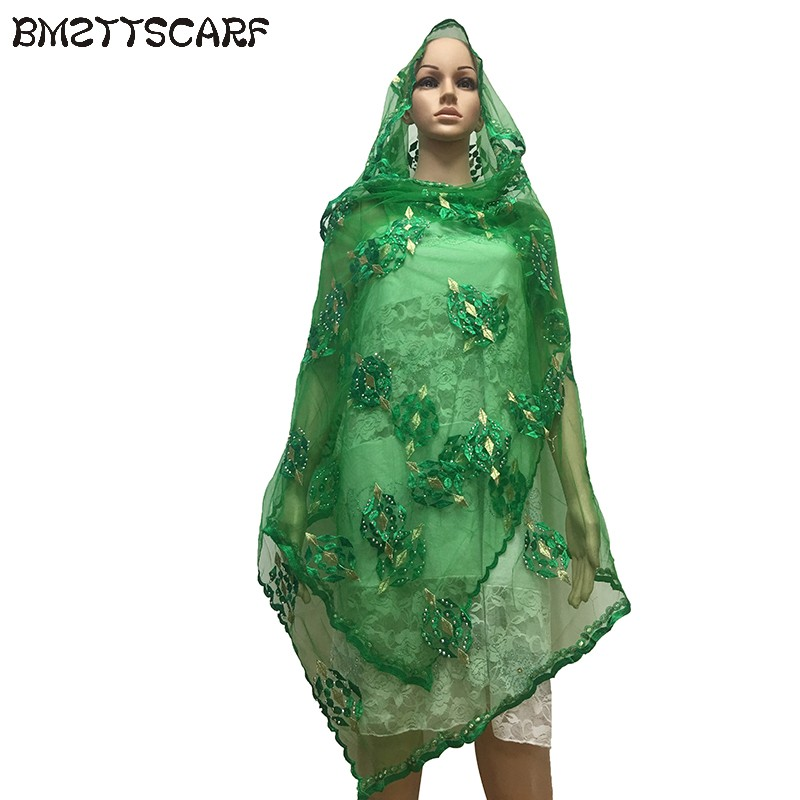 African Scarfs Small Size Net Scarf 2.1*0.8 meter with rhinestones headscarf for shawls BM653