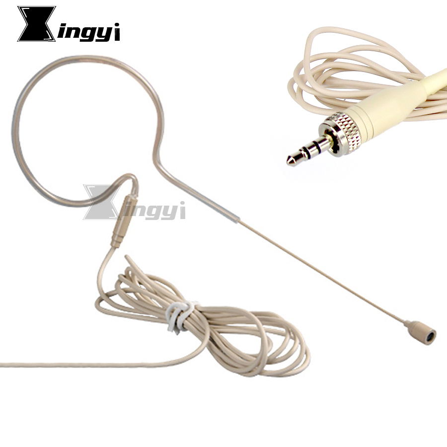 Flesh Color Single Earhook Condenser Microphone 3.5mm Screw Lock Stereo Plug Headset Mic For Karaoke Wireless System Transmitter