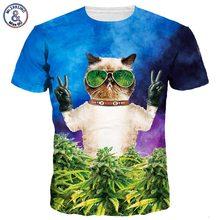 2017 Mr.1991INC New Fashion Men/Women 3d T-shirt Print Lovely Glasses Meow Star Cat Hip Hop Cartoon Tshirts Summer Tops Tees