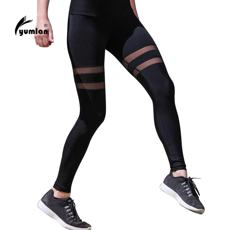 Yumlan Womens Compression Tights for Running Mesh Patchwork Sport Pants Black Leggings Ladies Fitness Running Trousers