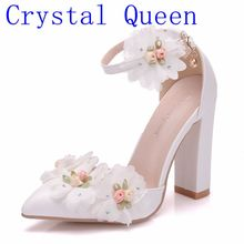 Crystal Queen Lace Flower Women Shoes Pointed Strappy Pumps Sexy High Thick Heels Shoes Woman Wedding Shoes Female Lace Up Shoes