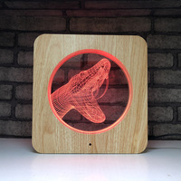Led 3d color changing table lamp night light wood grain gift light creative home product dinosaur