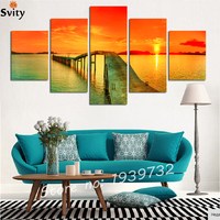5 Panel Modern Sea Wave Pictures Home Decor Cuadros Wall Art Ocean Sunset Painting Canvas Prints
