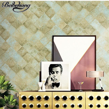 beibehang Retro Nostalgic Fake Brick Pattern American Diamond Wallpaper Sofa Background Wall Bedroom Pure Paper Wallpaper