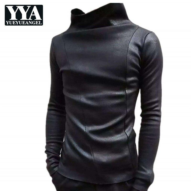 2019 nouveaux hommes épais chaud col roulé Style Punk T-Shirt automne hiver boîtes de nuit coréennes mince à manches longues T-shirt mâle noir t-shirts
